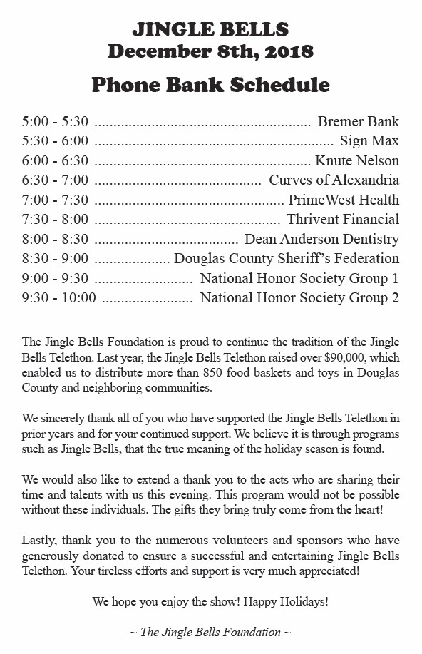 jingle bells 2018 schedule
